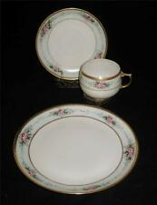 J&C Jaeger & Co Dessert Trio Hand Painted Freiberg Green, Pink Roses Cup Signed