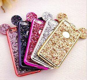 Disney Glitter Bling Minnie Mouse Ears case iPhone 6 7 8 11 XR Samsung S8 S9 S10