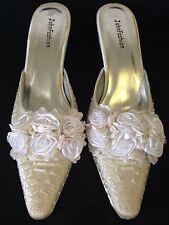 c6512855598a Satin Roses And Beaded Wedding Shoe in Ivory Satin Size 9