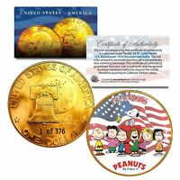 PEANUTS ORIGINAL GANG 1976 24K Gold Plated IKE Dollar - Machine Numbered of 376