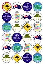 "24 x Australia /Emigration Party 1.5"" PRE-CUT PREMIUM RICE PAPER Cake Topper"