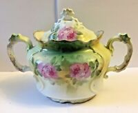 ANTIQUE R.S. PRUSSIA  * ROSES * RED MARK  * DOUBLE HANDLED COVERED SUGAR DISH
