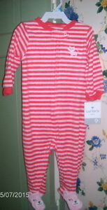 Carter's NWT Baby Girls Footie Footed Pink Sleeper 9 Mo. KITTEN Kitty Cat