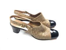 Valley Shoes 9.5 Aa Narrow Brown Black Heels Slingbacks Ostrich Vintage 60s