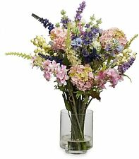 Nearly Natural Lavender Hydrangea Silk Flower Arrangement with Vase Faux Decor