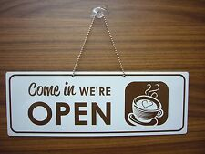 Open / Closed Coffee Shop sign White / Brown