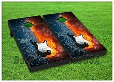 CORNHOLE BEANBAG TOSS GAME w Bags Wooden Electric Guitar Fire & Ice Set 141