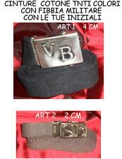 cintura cotone 2 cm FIBBIA MILITARE  arg. antico personalizzata  tue iniziali