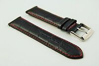 Genuine Leather Mock Croc Watch Strap Band Mens Padded Stainless Steel Buckle