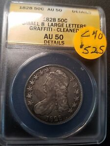 1828 AU50 Certified Capped Bust Half Dollar C40