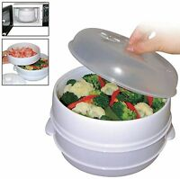 2 Tier Microwave Food Steamer Pasta Vegetable Fish Steamer Pot Healthy Cooker