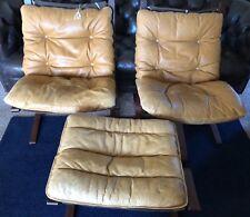 Westnofa Siesta chair pair & ottoman Scandinavian Norway mid-century 1960's gold