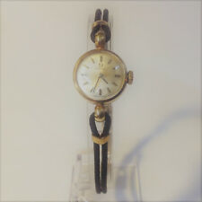 Ladies Vintage 9ct Yellow Gold Omega Watch with black cord - Manual Wind up