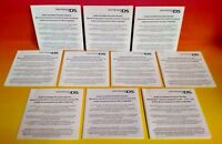Set of 10 Nintendo DS Health & Safety Precautions Booklets Complete your games!