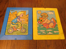 Vtg Lot Playskool Plastic Play Tray Frame Board Puzzles Girl on Bike Boy in Sea