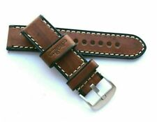 24mm Brown Wood Grain Leather Contrast Stitch Watch Band Silver Tone Buckle