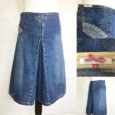 White Stuff Blue Denim Skirt A Line Pocket Knee Length UK8 (A7)