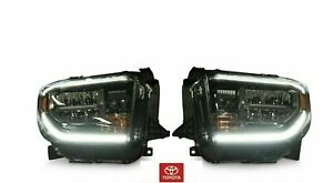 NEW OEM TOYOTA TUNDRA 2018-2019 TRD SPORT & PRO GLOSS BLACK LED HEADLIGHTS 2PC