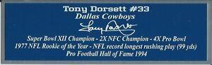 Tony Dorsett Autograph Nameplate Dallas Cowboys Helmet Photo Ball Jersey