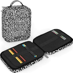 Arteza Artist Pencil Case Organizer, 64 Elastic Slots, Black & White Pattern