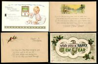 VINTAGE HAPPY NEW YEAR POSTCARDS - MIXED LOT - LOT OF 8