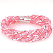 Pink Full Crystal Twist Bracelet Resin Crystal Double Wrap Magnetic Bracelets