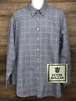 Peter Millar Mens Blue Yellow Glen Check Plaid Long Sleeve Button-Down Shirt XXL