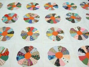 Vintage Various Bright Multi-Colored Appliqued Dresden Plate