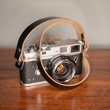 Black Leather Camera Strap 100cm 1m Long - Horween Chromexcel