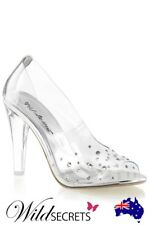 NEW Fabulicious by Pleaser 4.5 inch Heel Transparent Peep Toe Pumps with