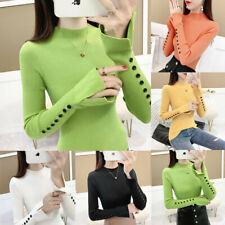 Autumn Winter Womens Knitted Shirt Sweater Basic Long Sleeve Slim Fit Blouse Top