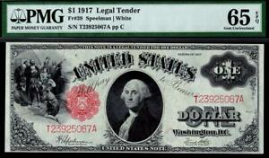 1917 Fr.39 $1 One Dollar Red Seal Legal Tender Note PMG 65 EPQ