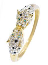 Golden Tone Clear Crystal Rhinestone Twin Lion Bracelet Bangle Unique Jewelry