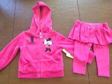 New listing Nwt Disney Pink Fleece Minnie Mouse Sweatsuit Jacket & Tutu Skirt Pants Sz 9M