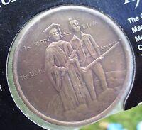 Official MASSACHUSETTS American Revolution BICENTENNIAL Medal ~ ANTIQUE BRONZE
