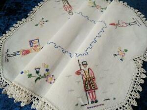 Wonderful UK Guards & UK Flowers  Vintage Hand Embroidered Centrepiece