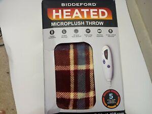 "Biddeford Heated Microplush Throw 6-Heat Settings Red & Blue Plaid 52"" x 60"""