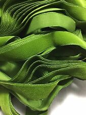 Vintage French Rayon VELVET Ribbon Taffeta Back LEAF GREEN by the yard 5/8 inch