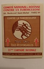 Carnet timbres vignettes comité national de défense contre la tuberculose 1936