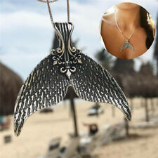 Fashion Vintage Whale Tail Pendant Necklace Tribal Charm Mermaid Tail Choker