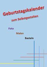 Geburtstagskalender A4 Blau Kreativ Foto Bastel Jahres Kalender immerwährend