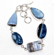"Plated Bracelet 9.5"" Gift Jewelry Gw Owhyee Blue Opal 925 Sterling Silver"