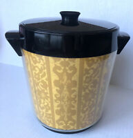 Vintage Thermo-Serv West Bend Plastic Gold Black Ice Bucket + Lid Paisley Retro