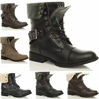 WOMENS LADIES MILITARY ARMY LOW HEEL COMBAT WORKER LACE UP ANKLE BOOTS SIZE