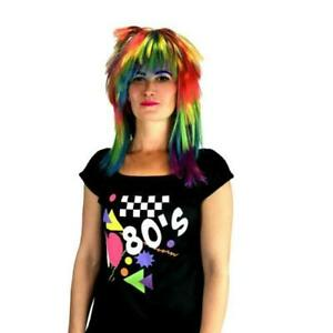 80s Rainbow Long Mixed Multi Colours Fashion Women Fancy Curly Hair Wig