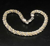 "Vintage Sterling Silver Bracelet 925 7.5"" Two Tone Chain"