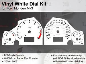 Ford Mondeo Mk3 (2000 - 2007) - 150mph / 8000rpm - Vinyl White Dial Kit