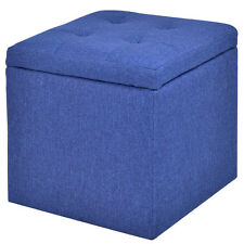 Storage Ottoman Square Seat Foot Stool Living Room Chair Cube Footstools Blue