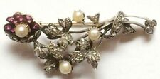 Victorian Look 925 Silver Brooch Pin 2.50ct Rose Cut Diamond Ruby Pearl Antique