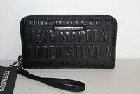NWT STEVE MADDEN ZIP AROUND WALLET WRISTLET LOGO BLACK CLUTCH BAG ORGANIZER